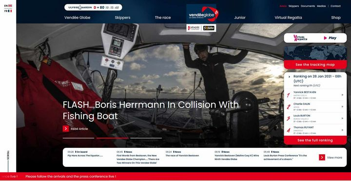 Screenshot Boris Herrmann auf Vendee Globe